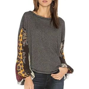 Free People Blossom Gray Thermal Oversized Top NWT